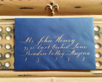 gold and blue envelope - Bella Grafia calligraphy