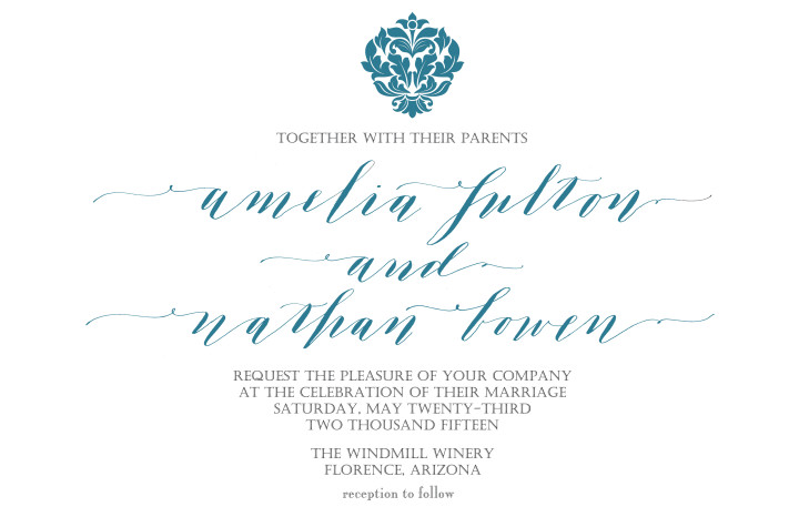 a modern romance calligraphy invitation - Bella Grafia Calligraphy