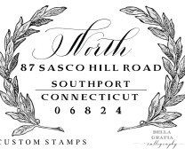 Southport custom return address stamp - Bella Grafia Calligraphy